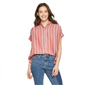 Red Banded Striped Woven Blouse